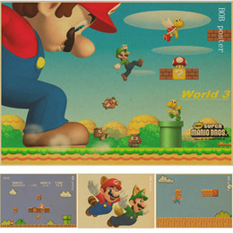 Wholesale Painting Small Rooms - Vintage Classic Game Character Super Mario Poster Cafe Bar Kid's Room Painting Home Decor Retro Kraft Paper Wall Sticker