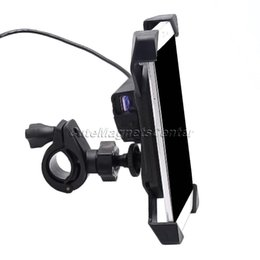 Wholesale motorbike phone holders - Universal Plastic Phone Stands Motorcycle MTB Motorbike Handlebar Mount Cell Phone Holder W  USB Charger 3.5-7inch Motorbike Car