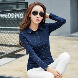 3f783117c82 chiffon blue blouse plus size Promo Codes - BIBOYAMALL Women Blouses 2017  Cotton Autumn Casual Dot