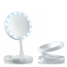 Wholesale Gold Compact Mirror - My Fold Away Make Up LED Mirror 360 Degree Rotation Touch Screen Make Up Cosmetic Folding Portable Compact Pocket OTH780