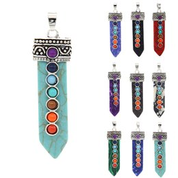 Wholesale Carved Stone Pendant Beads - Natural Stone Pendant Beads Fashion Carved Sword Point Chakra Healing Reiki Silver Pendant Chain Necklace For Jewelry #92557 10PCS