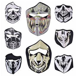 Wholesale Half Balaclava - Wholesale- 1PC Bike Cycling Ski Mask Outdoor Ghost Skull Balaclava Neck Hood Half   Full Face Mask