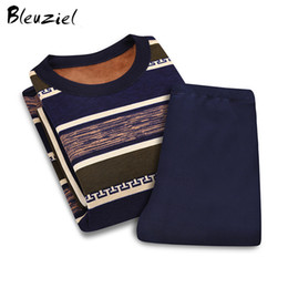Wholesale Cashmere Long Underwear Men - Bleuziel High Quality Thermal Sleepwear Set Newest Long Sleeve Thick Section Plus Cashmere Winter Keep Warm Underwear Set Men
