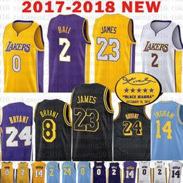 promo code c3d36 e60a5 2 Lonzo Ball 0 Kyle Kuzma 23 LeBron James Trikot 14 Brandon Ingram 24 8  Kobe Bryant Basketball Trikots Los Angeles Die Stadt Lakers
