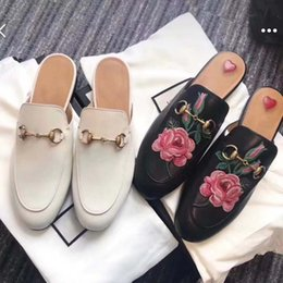 b34ad474a Summer Mens Women Bees Snake Leather Loafers Casual Mules Shoes With Buckle  Male Female Princetown Slippers Flats Flip Flops Original Box