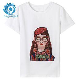JingyangO Streetwear Blanco Chica de Dibujos Animados Imprimir Mujeres Camisetas 2018 Diseño de Marca Moda Emboridery Primavera Verano Mujer Tops Tees desde fabricantes
