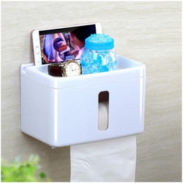 Wholesale Toilet Tissue Box Holder - Toilet Roll Holder Self Adhesive without Drilling with Storage Rack Toilet Tissue Paper Holder Box