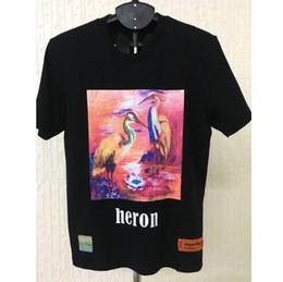rosa t-shirt Sconti 2019 P / E Heron Preston Pink Heron stampato donna uomo T-shirt tees Hiphop Streetwear uomo t-shirt in cotone stile estivo