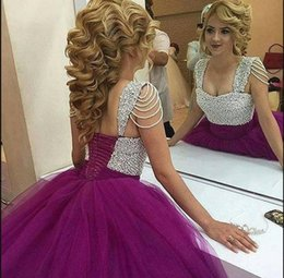 c173387fa17 2018 Latest Style Ball Gowns Prom Dresses Purple Pearls Princess Sweethart Evening  Gowns Puffy Formal Gowns affordable princess style prom dresses ivory