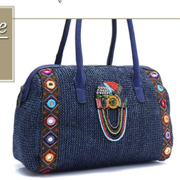 867d54d9324be Discount boho bags - Embroidered Bohemian Women Ethnic knitting Straw  Handbag boho gypsy jewellery Ethnic Bag