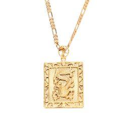 2019 chinesischer drachentierkreis 24K Vergolden Chinesische Sternzeichen Drachen Anhänger Hiphop Rock Halskette Schmuck günstig chinesischer drachentierkreis