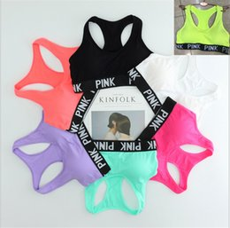 Wholesale Bra Fitness - Love Pink Letter Sexy Women Sports Bra Running Yoga Vest Shirts Shakeproof Gym Fitness Bra Push Up Elastic Crop Tops Underwear
