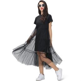 Nova Moda 2018 Sexy Verão Coreano Splicing Plissado Tulle T Shirt Vestido Mulheres Tamanho Grande Preto Cinza Cor Roupas de