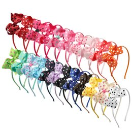 "Wholesale hair bows for women - 22pcs lot 3.5"" Grosgrain Ribbon Hair Bows With Headbands Polka Dot Butterfly Head Bands For Women Hair Bands"