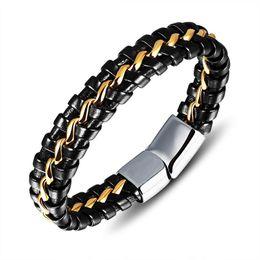 styles bracelet en acier inoxydable à la main Promotion SOUAIME Mode À La Main En Cuir Véritable Tricoté Homme Bracelets Bracelets Style Punk En Acier Inoxydable Noir Hommes Bijoux