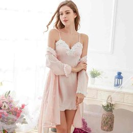 Wholesale two piece sleepwear women - Solid Color Two-piece Sling Sleepwear Pajamas Silk Like Long Sleeves Women Nightdress Padded Pajamas Spring Summer Home Cloth