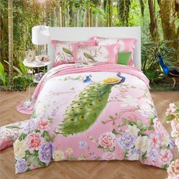 Wholesale King Size Peacock Bedding - Super Soft Tencel silk Bedding set King Queen size 4pcs Summer Spring Bed set Peacock Duvet Quilt cover Bed sheet Pillow shams