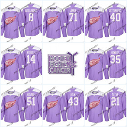 ac59db53f 71 Dylan Larkin Purple Fights Cancer Practice Detroit Red Wings 40 Henrik  Zetterberg 9 Gordie Howe 8 Justin Abdelkader Hockey Jerseys