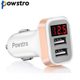 автомобильное зарядное устройство dvd Скидка Powstro 2.1 A автомобильное зарядное устройство ток дисплей 2 USB зарядное устройство DC12-24V низкого напряжения предупреждение заряда для мобильного телефона Tablet DVD