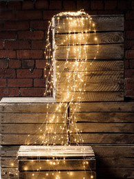 Luci della vite online-Waterproof 12V 1.5M 200LED Curtain String Fairy Light Vine Copper Wire Xmas Wedding tree decoration +US Adapter