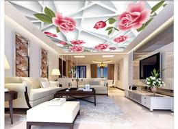Wholesale Roses Wallpaper Home Decor - 3d wallpaper custom photo 3d ceiling mural wallpaper Frame Pink Rose Zenith Mural painting 3d wall living room murals wallpaper home decor