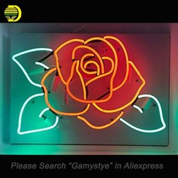 c0483bd375 Rose Flower Neon Sign Glass Tube Cool Neon Bulbs Sign Beer Bar Pub lighted  SHOP Garage Display lights Clear Board
