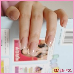 nails pink Australia - Shiny Fake Nails Clear Light Pink Plastic False Nail Finger Nails Tips Simple Nail Art Manicure Tools 24Pcs