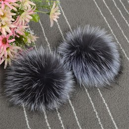 Wholesale Genuine Fox Fur Hat - GMANCL Genuine Real Sliver Red Fox Fur Pompom Ball for Hats Caps Warm 2017 Winter Natural Color Fur Ball Shoes Hats Bags Gloves