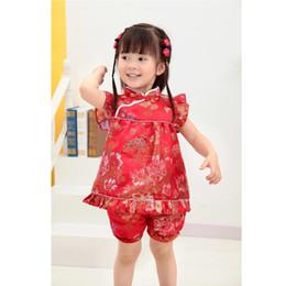 2018 Nuevo Verano Floral Qipao Niños Establece Año Nuevo chino niñas  vestidos cortos pantalones cheongsam trajes bebé chino año vestido baratos 2ef729bba0d
