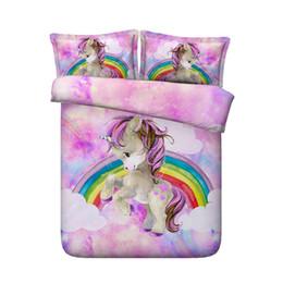 Edredón edredón para niñas online-JF-446 fantasía rosa púrpura ropa de cama para niñas princesa de dibujos animados juegos de cama de unicornio 4pcs ropa de cama edredón del arco iris 3d cubre