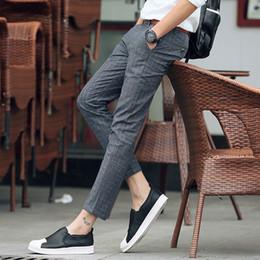 beiläufige Hosen der Sommermänner karierte Männer STRAIGHT dünne Hosen knöchellange Hosenbaumwolldünnes Kleid pantalon homme plus Größe 42 Y1892503