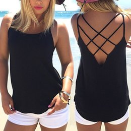 e42cb274be695 High Quality Women Summer Soild Colors Sleeveless Spaghetti Strap Solid  Hollow Out Thin Cool Loose Charming Sun-Top Sexy Vest