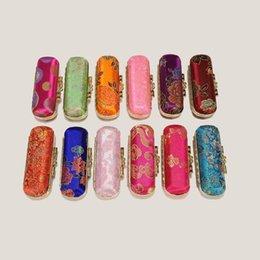 Wholesale Lipstick Cases Mirror Wholesale - Free Shipping jewelry box Lipstick Case Retro Embroidered Brocade Fashion Holder Flower Design With Mirror Box