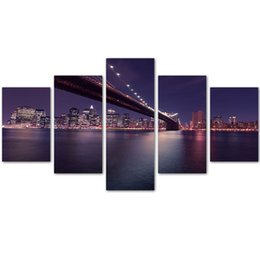 Wholesale Brooklyn Bridge Canvas - MingTing - 5 Panel Canvas Wall Art Brooklyn Bridge Landspace Poster Painting Modern Home Decor For Living Room Kid Room No Frame