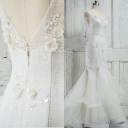 2018 robes de mariée sirène magnifiques col v 3d appliques florales de dentelle volants dos ouvert robes de mariée avec embellissement de perles exquises ? partir de fabricateur