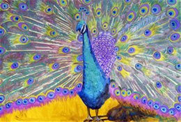 Wholesale Canvas Paintings Crosses - Rhinestone full square diamonds embroidery animal peacock diy diamond painting cross stitch kit home mosaic decoration zxh1419