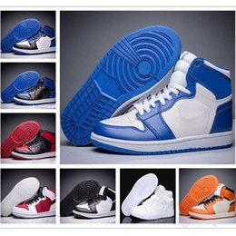 Wholesale Retro Trainers - Wholesale air Retro 1 OG High Banned black red white men basketball shoes women sports shoes athletic trainers 2017 sneakers size eur 5.5-13