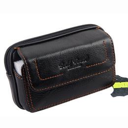 Чехол для мобильного телефона онлайн-New Men's Genuine Leather Real Cowhide Cell Mobile Phone Case Cover Pocket Coin Purse Belt Hip Fanny Bag Waist Pack Father Gift