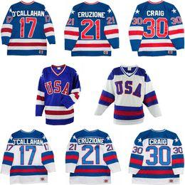 Wholesale usa vintage - Men's 1980 USA Team Hockey Jerseys 30 Jim Craig 21 Mike Eruzione 17 Jack O'Callahan USA Miracle On Alternate Year Vintage Jerseys