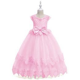 4-14Yrs Lace Teenagers Kids Girls Wedding Long Girl Dress elegant Princess  Party Pageant Formal Dress Sleeveless Girls Clothes 36c650174b2f