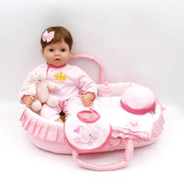 Wholesale Pink Doll Clothing - 2017 New Arrival Reborn Doll With Pink Clothes Silicone Cotton Body Adora Lovely Dolls Basket Blanket Newborn Bonecas Baby Dolls