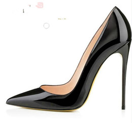 Wholesale leather dress 12 - Fashion Luxury Brand Red High Heels White Rivets Patent Leather High-heeled Women Shallow Mouth High Heel Pumps 12 10 8cm size 34-45