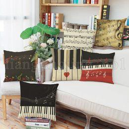Wholesale vintage car prints - Piano Keyboard Design Pillow Retro Vintage Style Cushion Home Decor Sofa Car Accessories 6 Styles NNA223