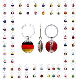 Wholesale Flag Rings - Flag Key chain 2018 world cup football fans gift key rings handmade both sides with graphics freeshipping by DHL