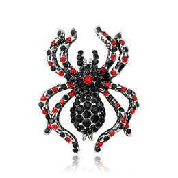 Wholesale vintage indian clothing - Spider Alloy Crystal Brooch Pins Fashion Lady Clothes Accessories Vintage Jewelry Gift