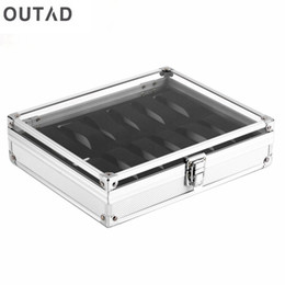 Wholesale inside dress - OUTAD 12 Grid Slots Jewelry Casket Watch Boxes Display Storager Square Box Case Aluminium Suede Inside Container relogio