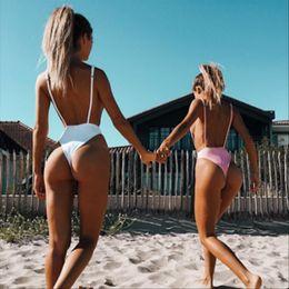 String body xl en Ligne-Sexy Maillots de bain une pièce solide String Maillot Bandage Maillot de bain femme Summer Beach Wear Monokini Halter maillot de bain Bodysuit