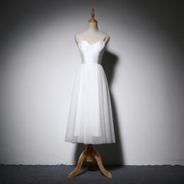 Robes midi ivoire en Ligne-Robes de mariée de plage d'été 2018 bretelles spaghetti satin tulle robe de mariée longueur midi robe de mariée blanc ivoire
