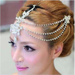 2019 chapéus verdes do fedora Limpar cristal dangle testa headband tiara coroa nupcial pageant prom headpieces casamento teardrop jóias cabelo acessórios 1 pc