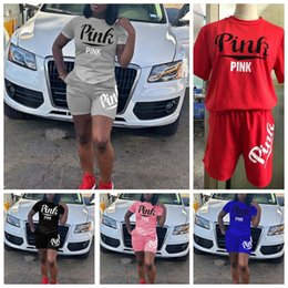 Wholesale body sets brands - women PINK print Tracksuit Set t Love Pink Letter Shirt +Shorts Body Track Suit Set Summer Clothes set KKA4803